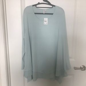 Turquoise Long Sleeve Scoop Neck Sweater